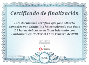 Certificado de participación en Udemy sobre Iniciando con Containers en Docker