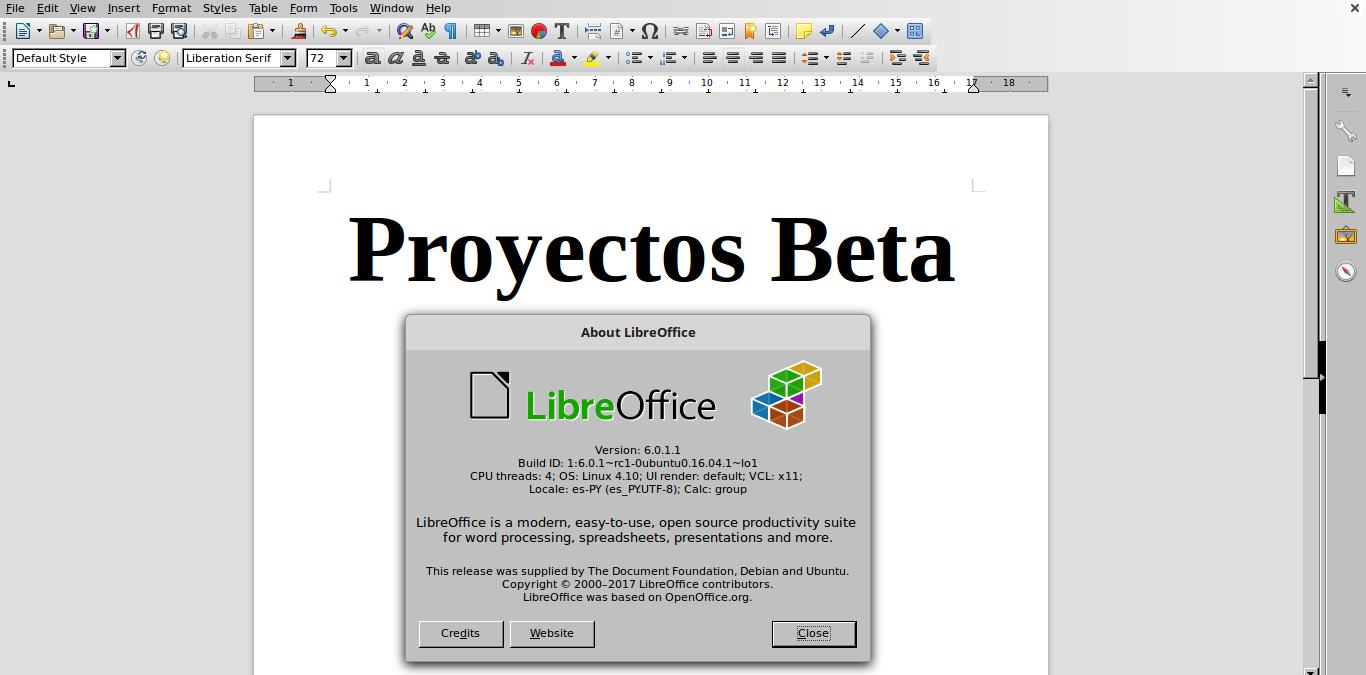 LibreOffice 6.0 en Linux Mint 18.2 Sonya