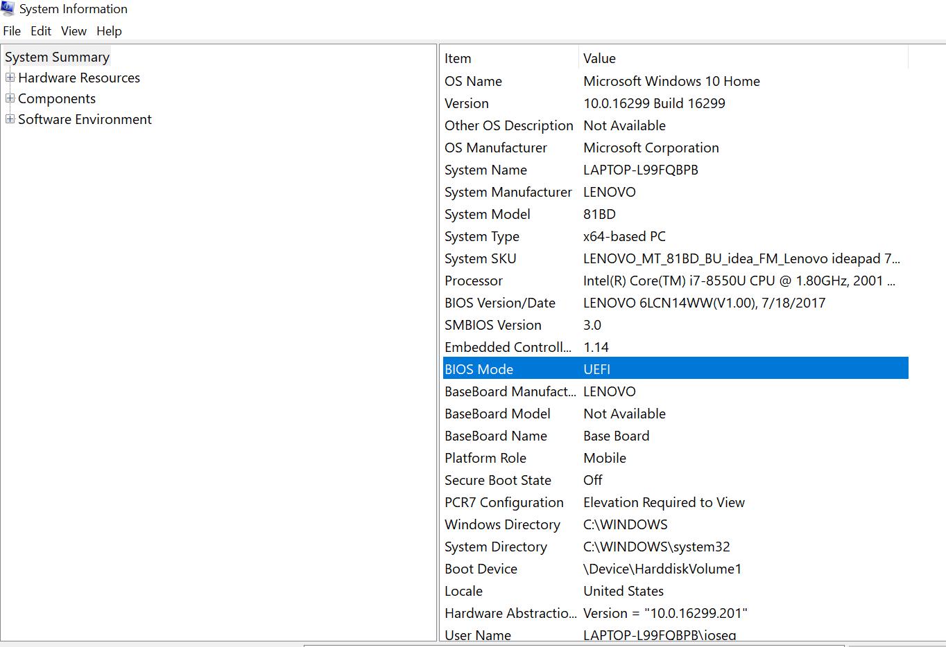 System Information en Windows 10
