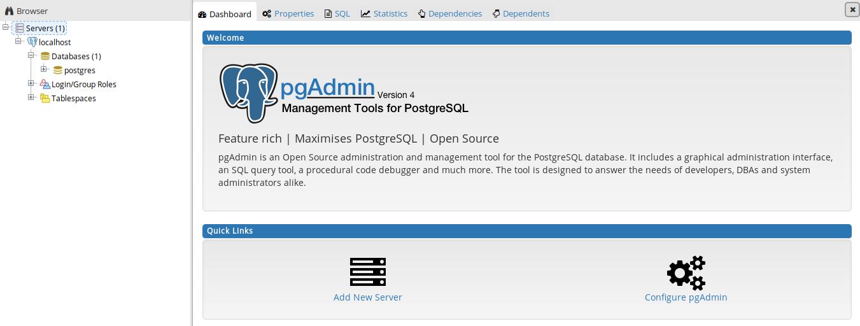 pgAdmin4 en Ubuntu 17.10 17.10 Artful Aardvark