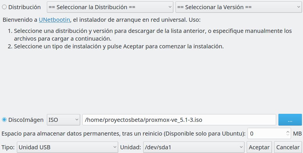 unetbootin en Ubuntu Xenial Xerus 16.04 LTS