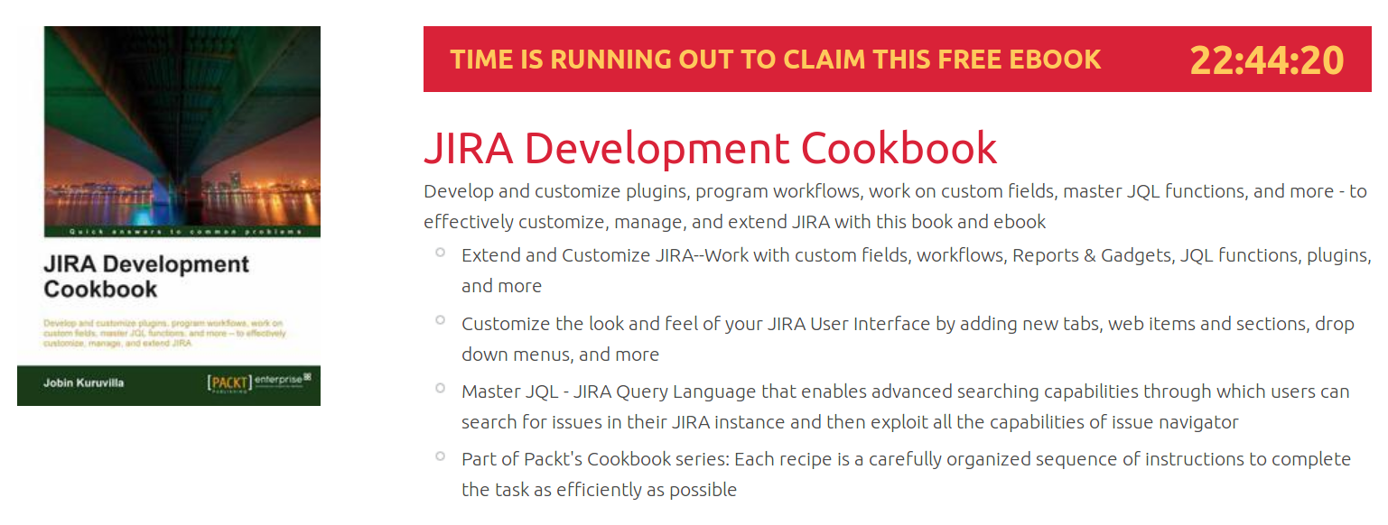 JIRA Development Cookbook, ebook gratuito disponible durante las próximas 22 horas