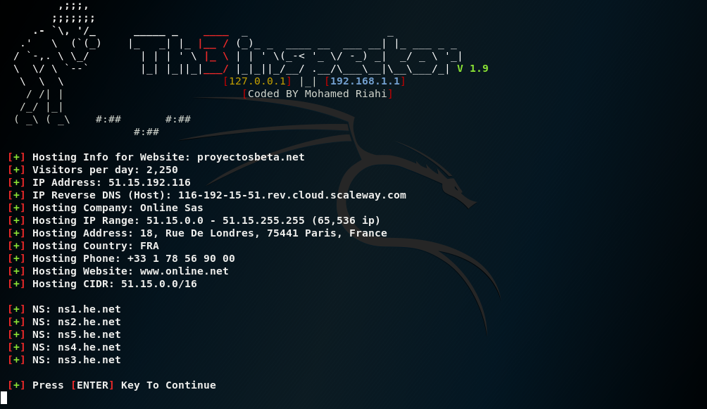 Th3Inspector en Kali Linux para obtener información de un sitio web
