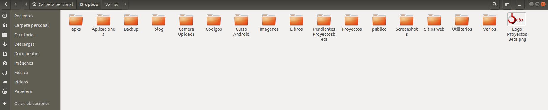 Carpetas sincronizadas de Dropbox en Ubuntu 18.04 LTS Bionic Beaver