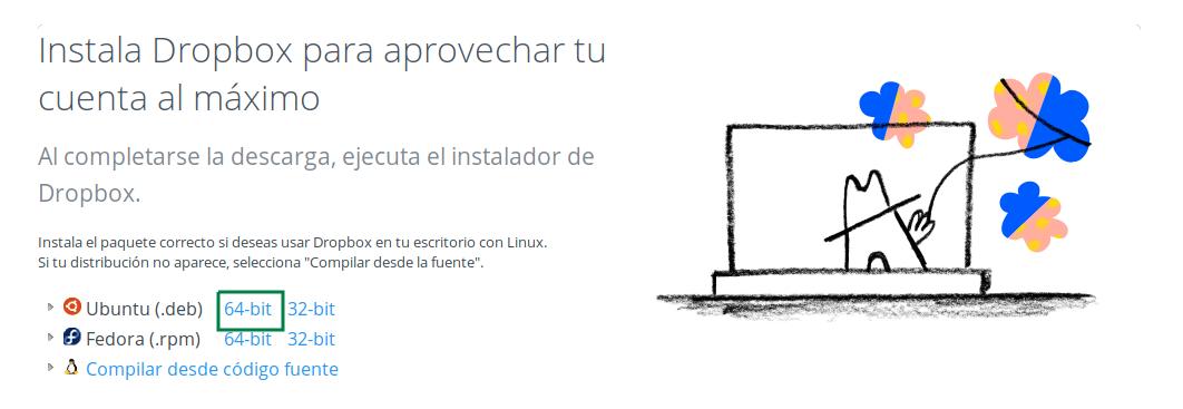 Descargar paquete deb de Dropbox para Ubuntu de 64 bits
