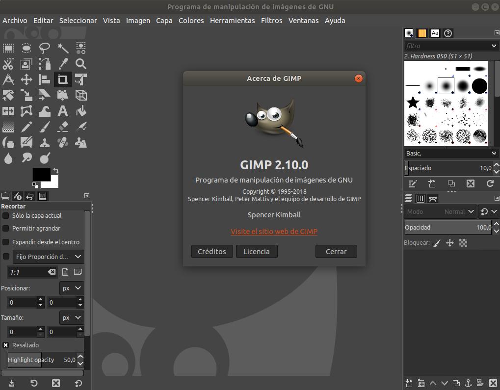 GIMP 2.10 en Ubuntu 18.04 LTS Bionic Beaver de 64 bits