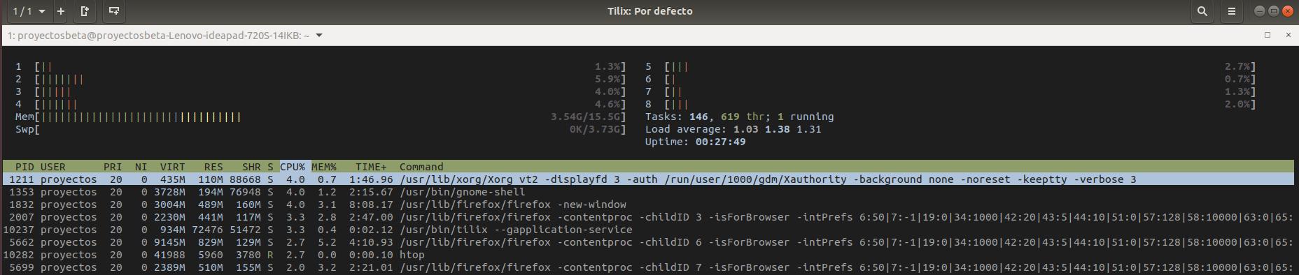 Tilix en Ubuntu 18.04 LTS Bionic Beaver de 64 bits