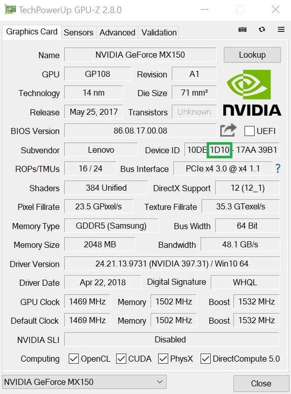 Verificando GeForce MX 150 con GPU-Z