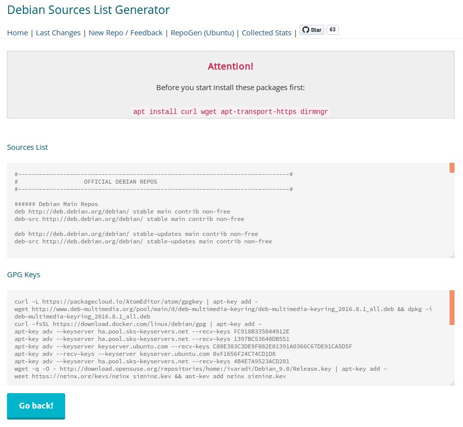Generar listado de sources de Debian