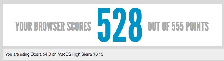 HTML5Test en Opera (macOS High Sierra)