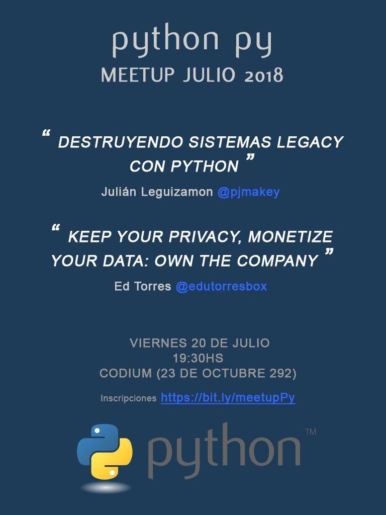 Meetup PythonPy - viernes 20 julio 2018