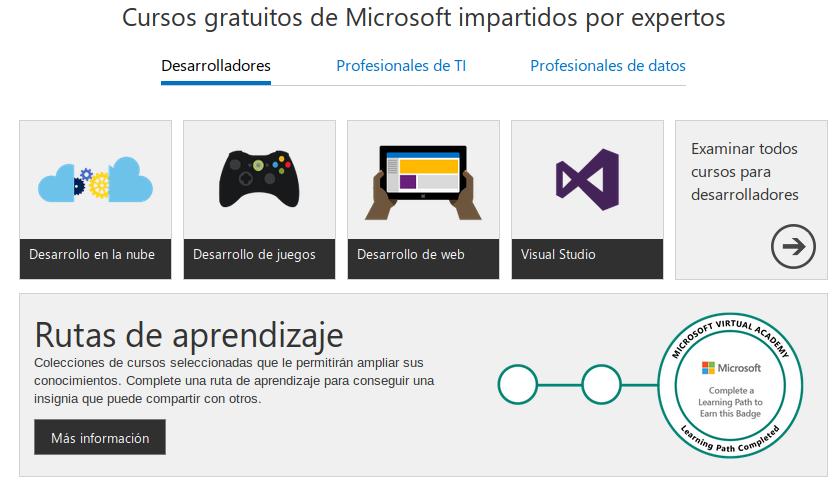 Recursos gratuitos de Microsoft a desarrolladores, profesionales de TI y científicos de datos
