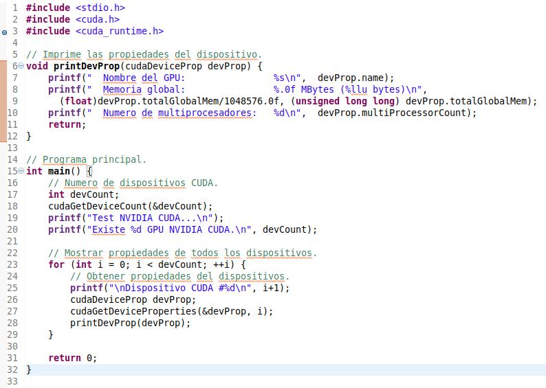 Código de ejemplo con CUDA