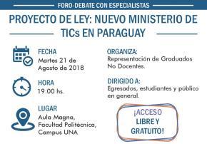 Debate sobre proyecto de ley - nuevo Ministerio de TICs en Paraguay - martes 21 de agosto (imagen destacada)