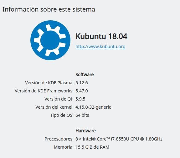 KDE Plama 5.12.6 en Ubuntu Bionic Beaver 18.04 LTS