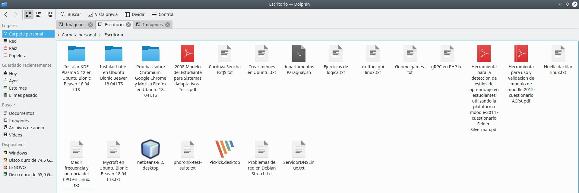 KDE Plasma 5.12.6 en Ubuntu Bionic Beaver 18.04 LTS