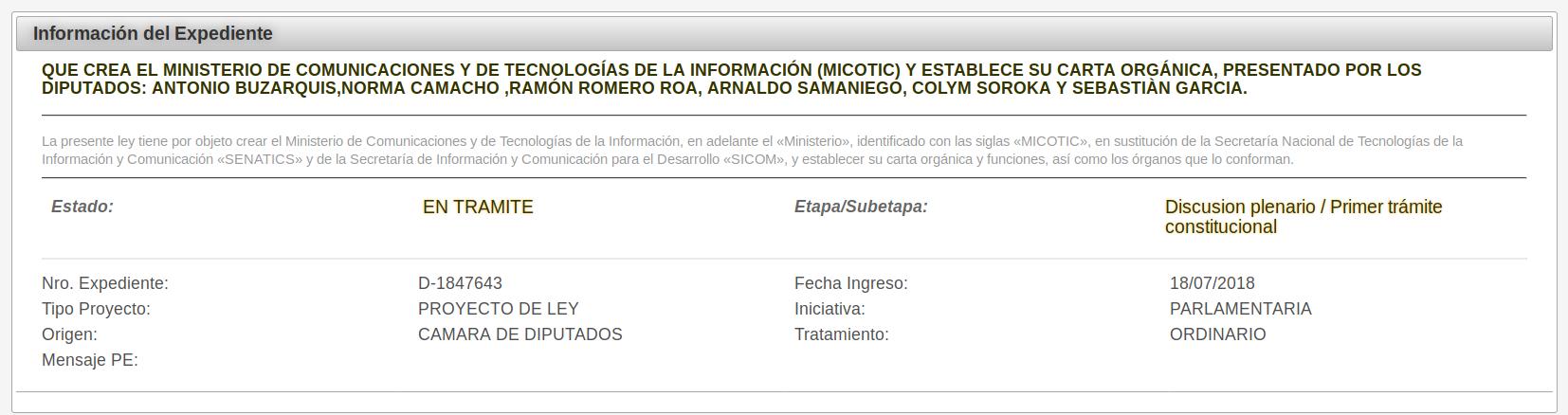 Ley para la creación del Ministerio de Tecnologías de la Información y Comunicación (MITIC)