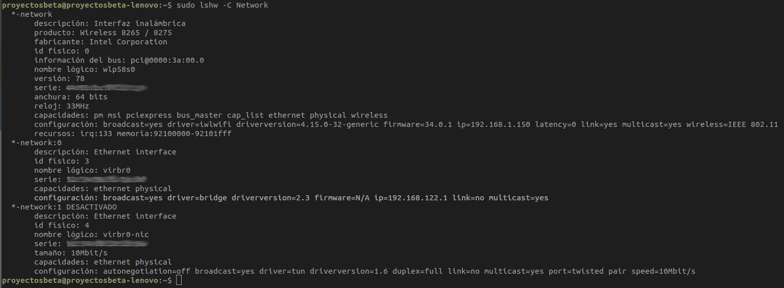Obtener información detallada de interfaces de redes en Ubuntu Bionic Beaver 18.04 LTS