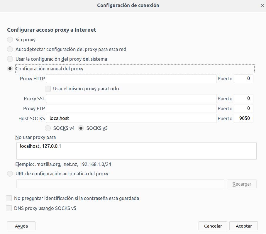 Configurar proxy en Mozilla Firefox para acceder a la red Tor
