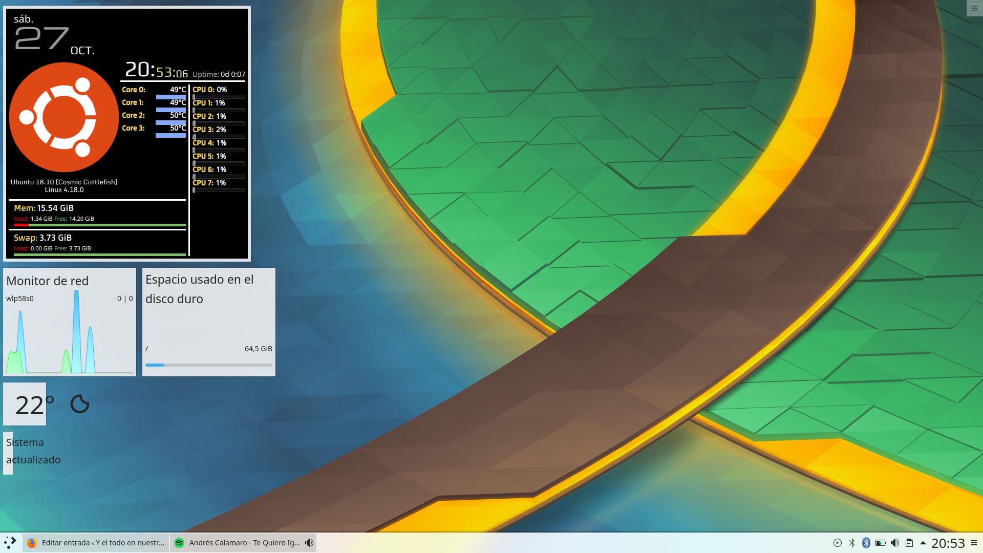 KDE Plasma 5.14.1 en Ubuntu 18.10 Cosmic Cuttlefish
