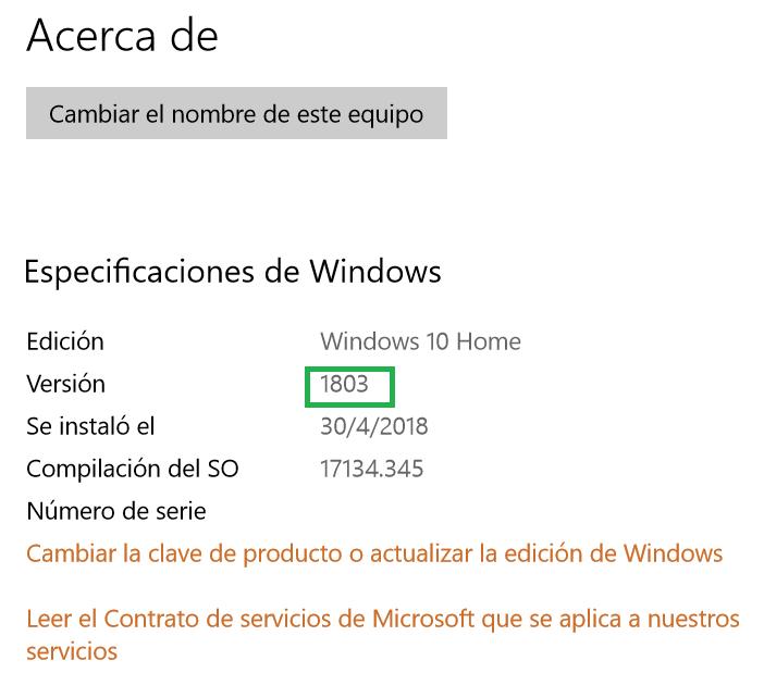 Versión o build Windows 10