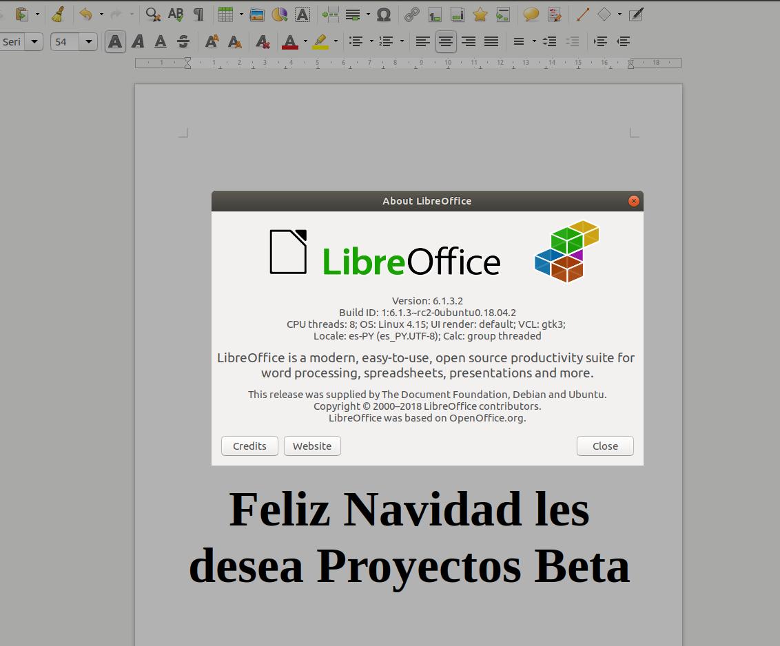 LibreOffice6.1.x en ubuntu 18.04 LTS Beaver Bionic