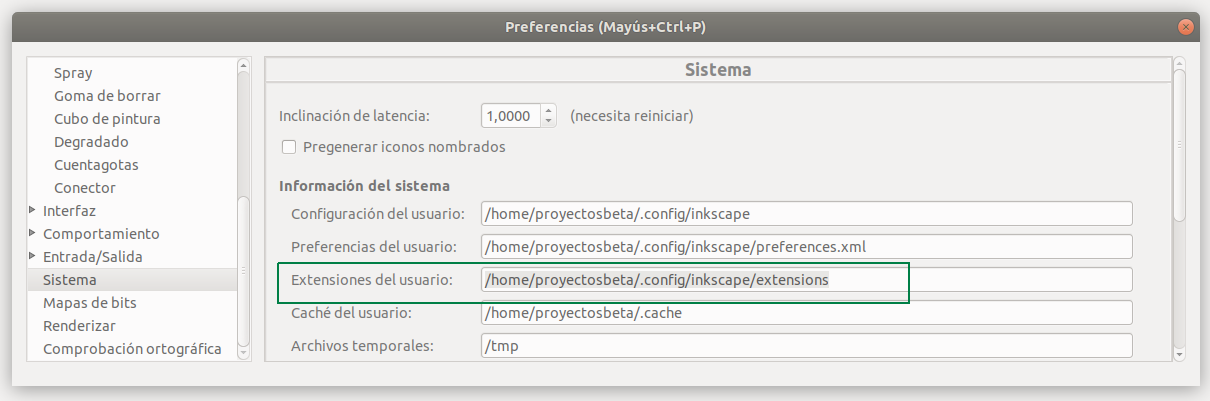 Directorio donde se encuentra los plugins de Inkscape