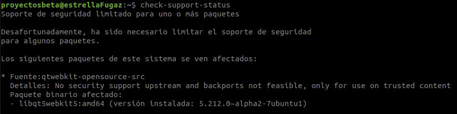 Comprobar si un paquete dispone de soporte de seguridad en Ubuntu