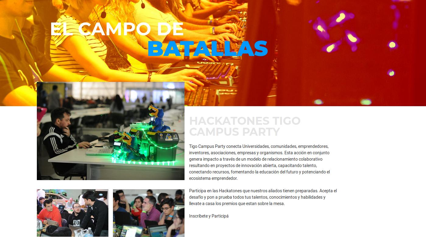 Hackathones Tigo Campus Party 2019