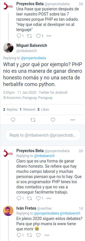 Comentarios en Twitter sobre el post de 7 razones de porque PHP es odiado.png