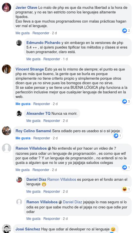 Comentarios sobre el post de 7 razones de porque PHP es odiado