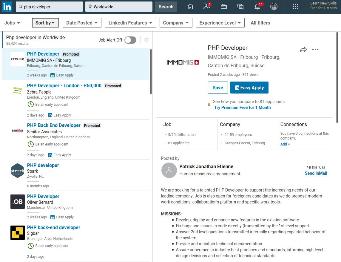 LinkedIn PHP Developers