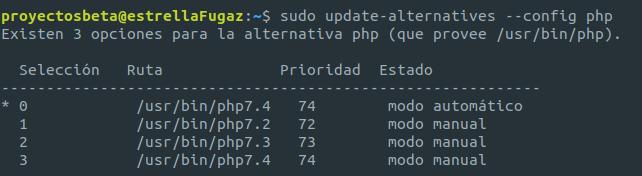 Obtener las versiones PHP instaladas en Ubuntu