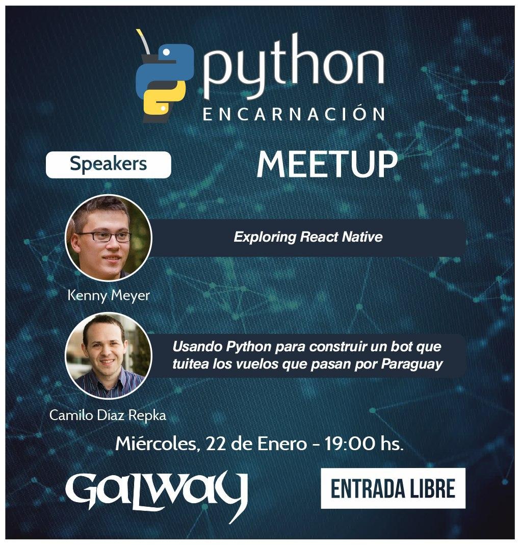PythonPy - 1er Meetup en Encarnación! miércoles 22 de enero de 2020