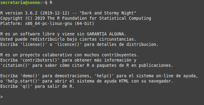 Lenguaje R en Linux Mint 19 Tara