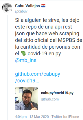 COVID19PY - Tweet webscrapping MSPBS