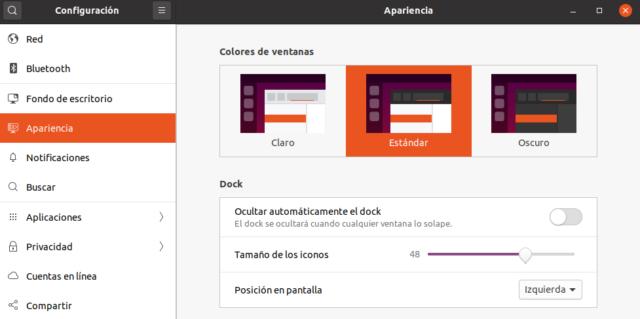 Apariencia Ubuntu 20.04 LTS Focal Fossa Beta