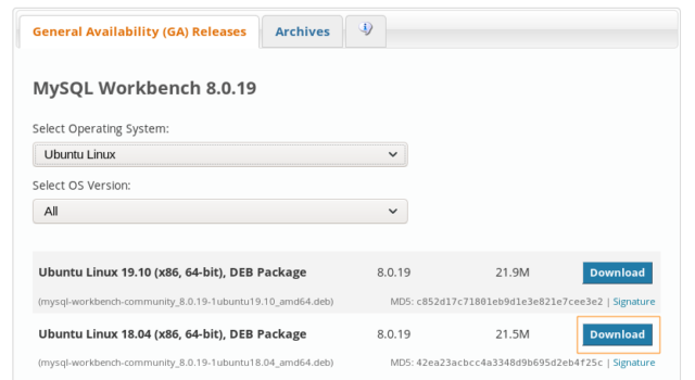 Descargar MySQL Workbench 8 en Debian Buster