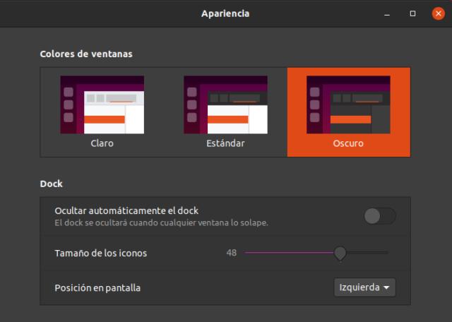 Modo oscuro en Ubuntu 20.04 LTS Focal Fossa Beta
