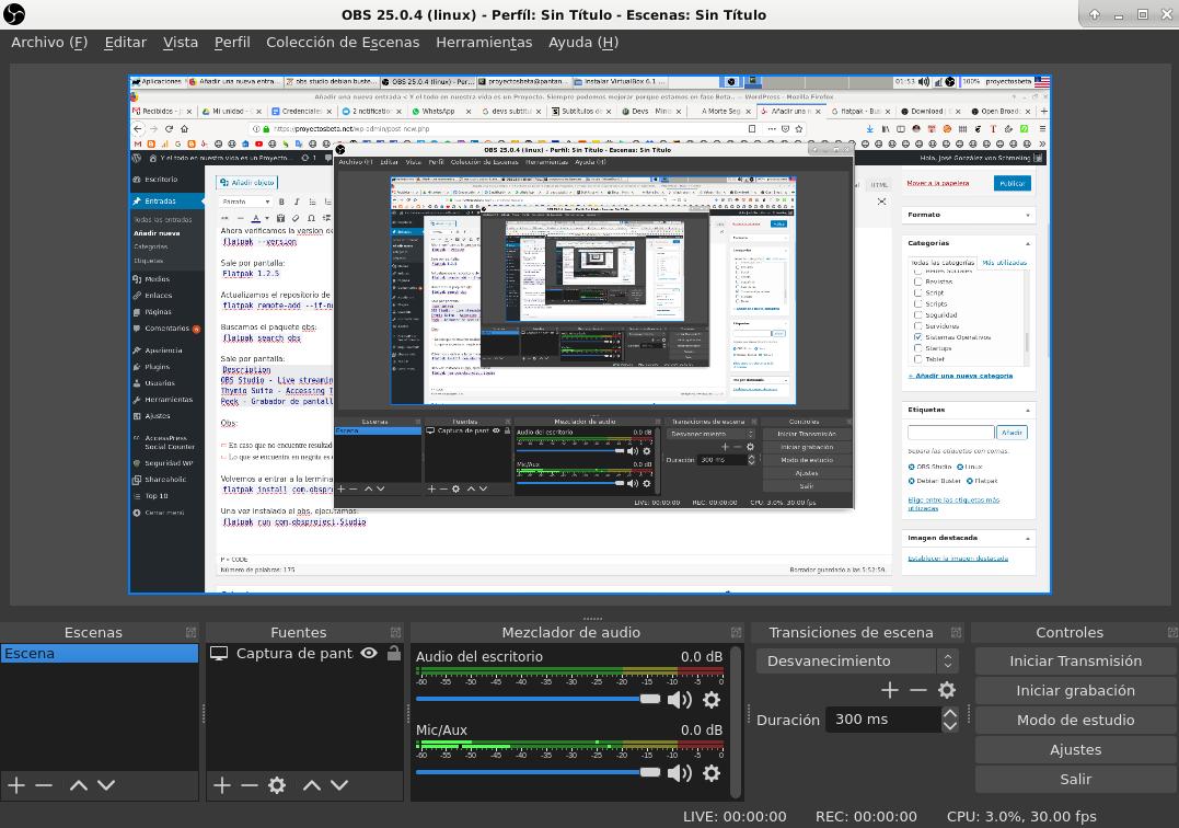 OBS Studio en Debian Buster
