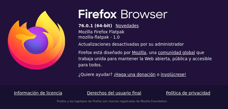 Mozilla FireFox en Debian Buster con Flatpak