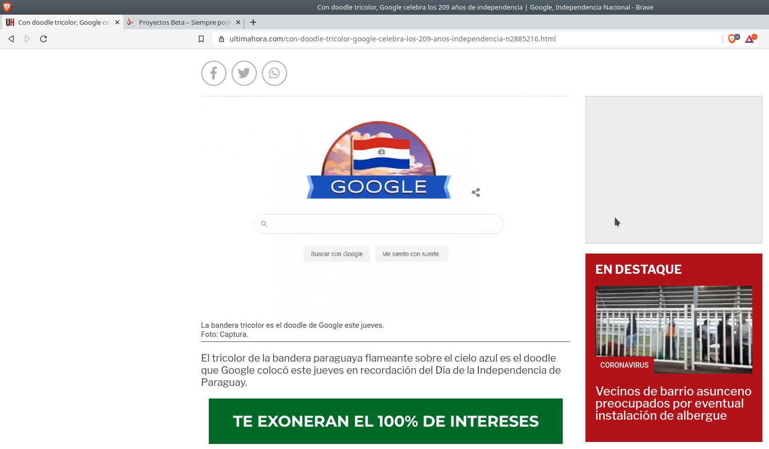 Usando brave browser en Debian Buster