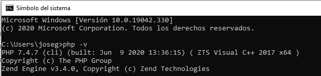 Probar Php 7 en el CMD de Windows 10