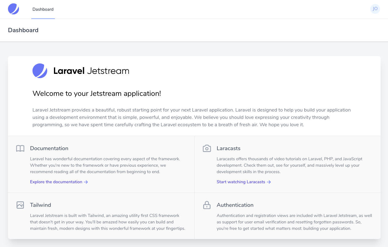 Laravel 8 usando Laravel JetStream