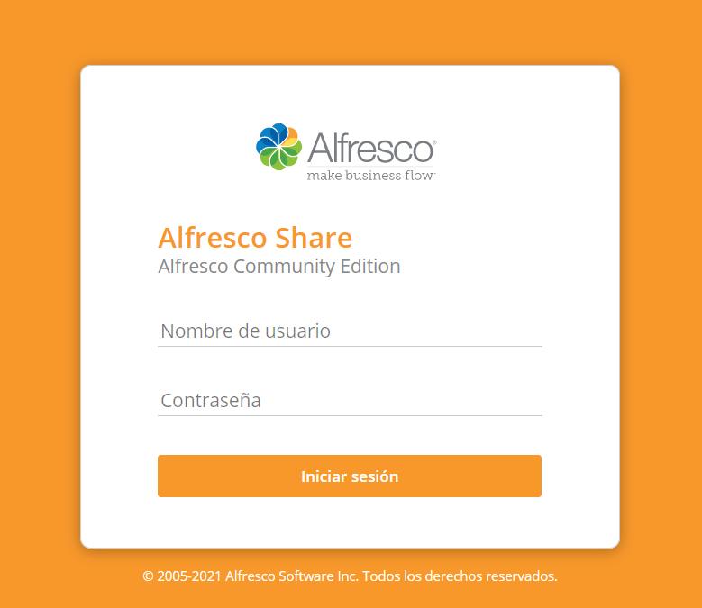 Alfresco Community Edition 7.0 - accceso web