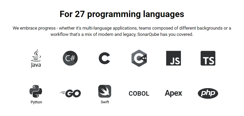 SonarQube soporte lenguajes más populares