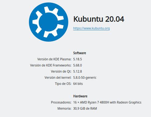 Información KDE Plasma 5 en Ubuntu Focal Fossa 20.04 LTS