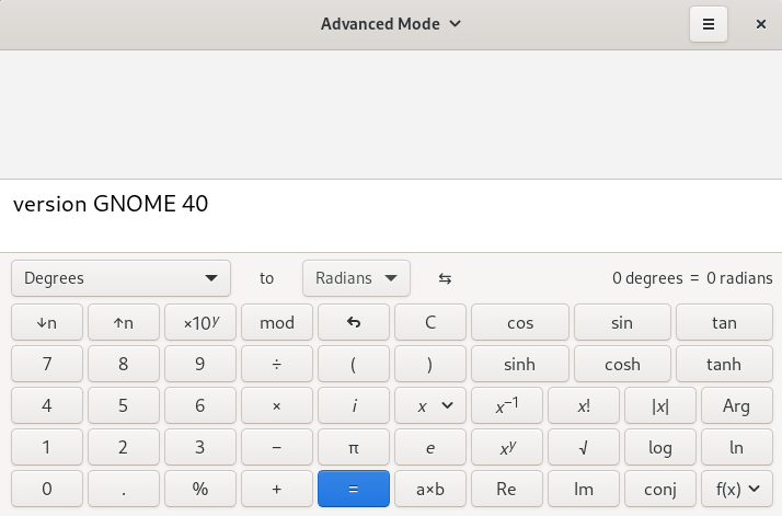GNOME 40 - Calculadora