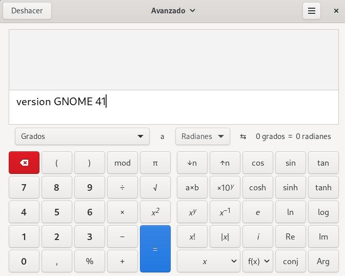 GNOME 41 - Calculadora