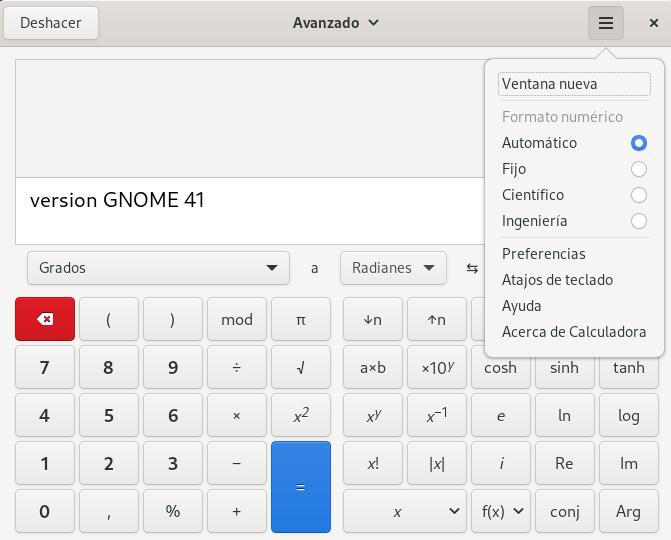GNOME 41 - Calculadora mejoras Menú